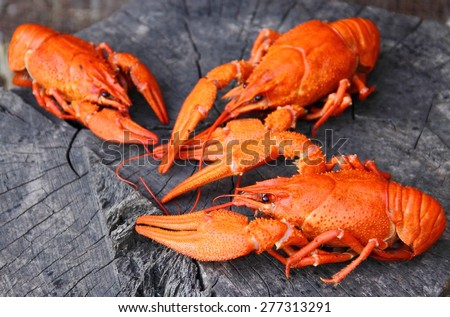 Boiled crayfish on a wooden background. - stock photo