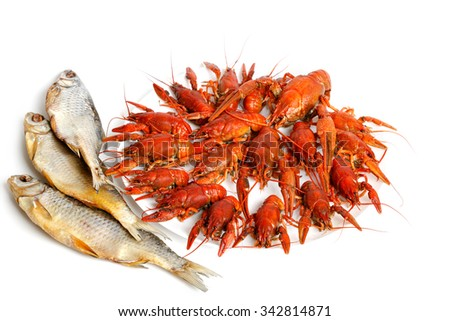 boiled crayfishes on white plate - stock photo