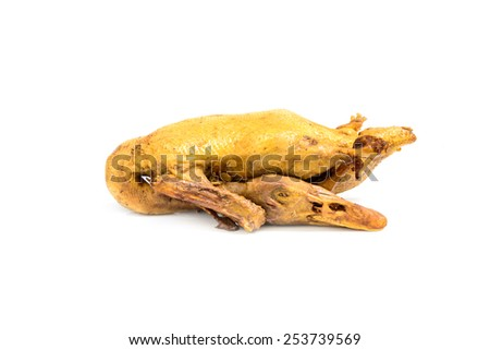 boiled duck isolated on white background - stock photo