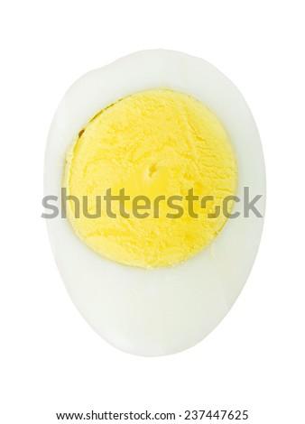 Boiled egg closeup on white background - stock photo