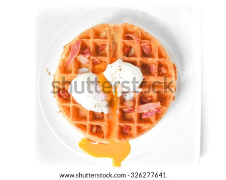 Boiled Eggs and Bacons Waffles Breakfast, Isolated on White Background, Selective Focus  - stock photo
