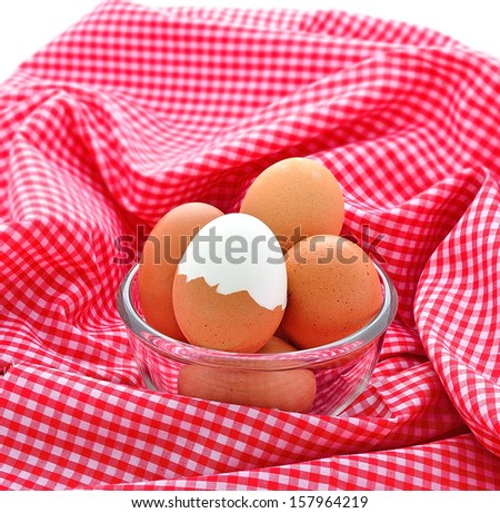 boiled eggs in bowl - stock photo