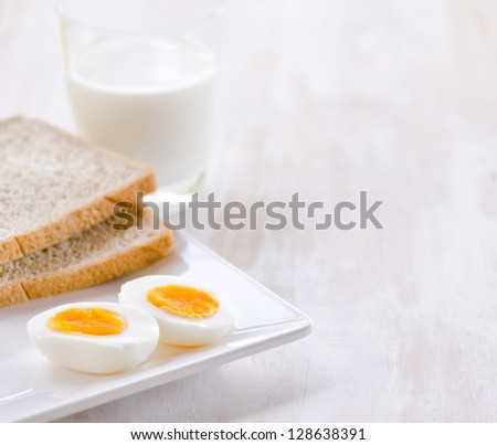 Boiled eggs, toasts and glass of milk.