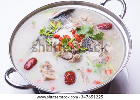 Boiled fish Isolated on white background - stock photo