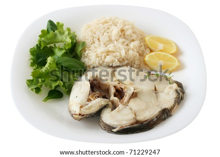 boiled fish with rice and salad