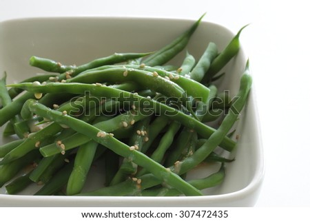 boiled green bean with sesame dressing for healthy food image - stock photo