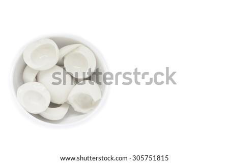 Boiled hen albumen non-yolk egg in white bowl isolated on white background for muscle building - stock photo