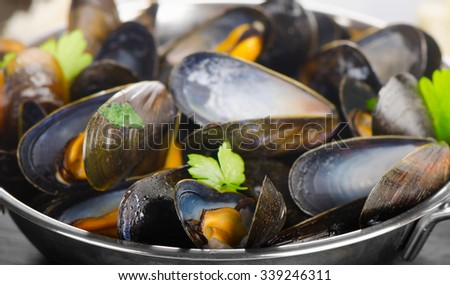 Boiled mussels in cooking dish. Selective focus - stock photo