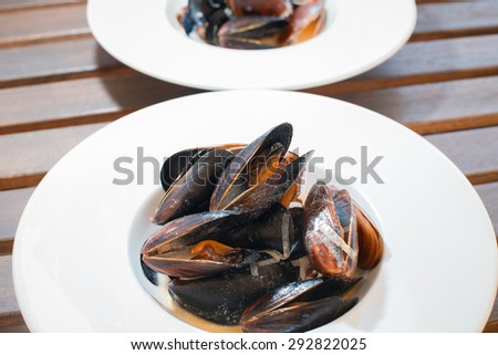 Boiled mussels on white plate in white wine sauce - stock photo