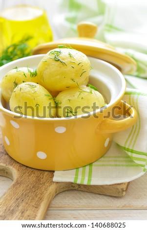 Boiled new potato - stock photo