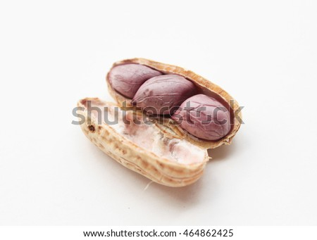 Boiled peanut on white background.