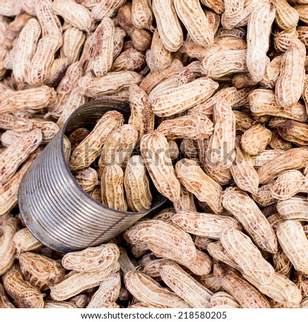 boiled peanuts background,kind of Thai sweetmeat, is a popular form of street food in Thailand,boiled peanuts in the market - stock photo