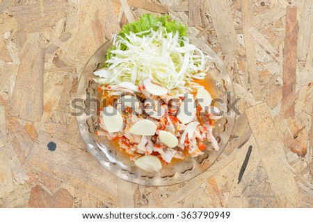 Boiled Pork with Lime,Garlic and Chili Sauce - stock photo