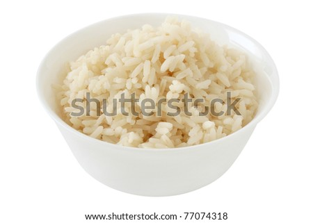 boiled rice in a bowl - stock photo