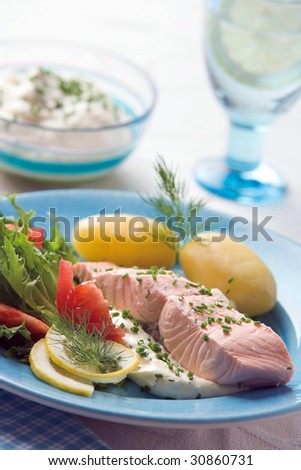 Boiled salmon with potato - stock photo