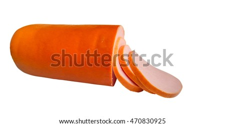 Boiled sausage isolated on the white background. Clipping path included.