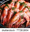 Boiled shrimp with parsley. - stock photo