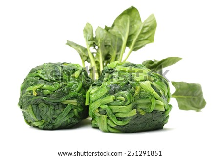 Boiled spinach on the white background - stock photo