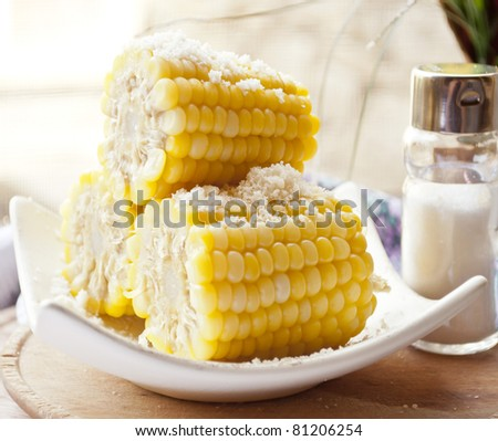 boiled sweet corn with salt - stock photo