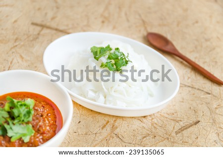 boiled Thai rice vermicelli, usually eaten with Nam prik ong, Thai northern style chili paste