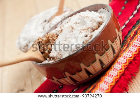 Boiled wheat traditionally served on christmas or na memorial occasions - stock photo