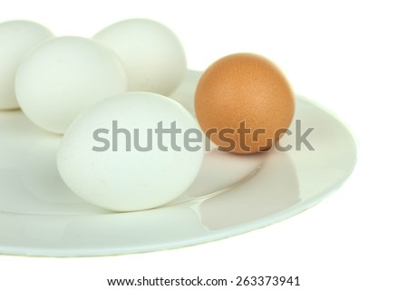 Boiled whole chicken eggs on a white plate