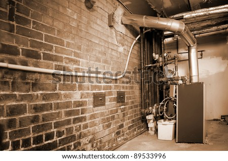 boiler basement room , facility background