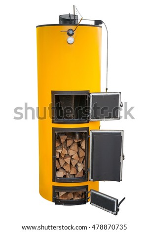 Boiler for solid fuel isolated on white. Clipping path imcluded.