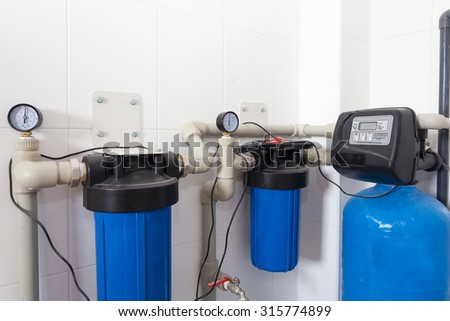 Boiler room in a new house - stock photo