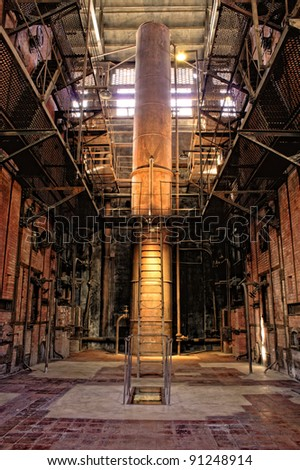 boiler room in a power thermal  plant abandoned - stock photo