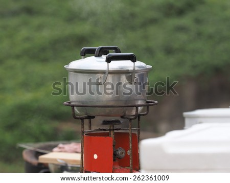 Boiling in the Camping - stock photo
