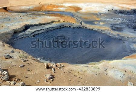 boiling mud pool in the hverastrond sulphur springs  near lake myvatn, iceland - stock photo