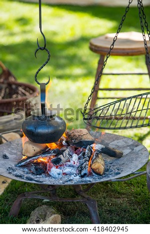boiling over the fire - stock photo