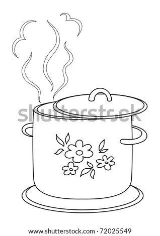 Boiling pan with flower cover, steam and support, contours - stock photo