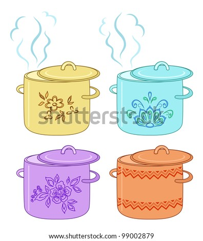 Boiling pan with flower pattern, cover and steam, set - stock photo