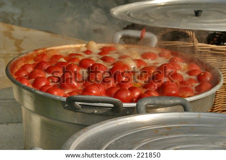 Boiling tomatoes - stock photo