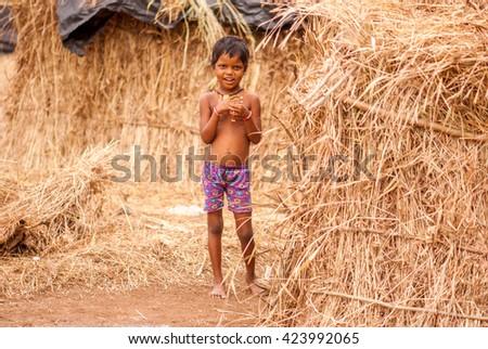 BOISAR, INDIA - October 23, 2014: Tribe people daily lifestyle, Boisar, Maharashtra, India, Southeast Asia. - stock photo