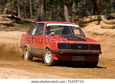 BOISDALE - MARCH 13: An unknown competitor competes at Boisdale Hillclimb, March 13 2011, Boisdale, Victoria, Australia. - stock photo