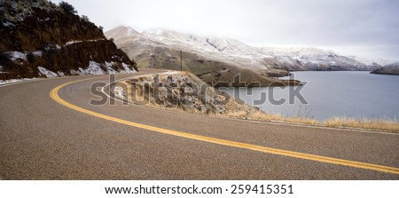 Boise Basin Snake River Canyon Cold Frozen Snow Winter Landscape - stock photo