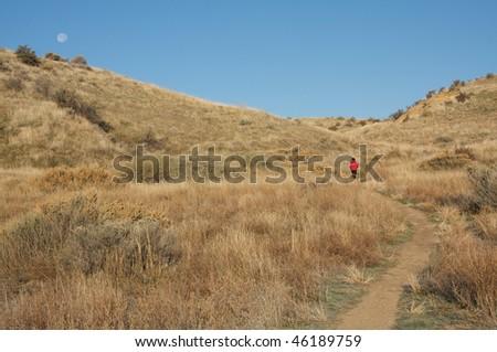 Boise foothills hiker - stock photo