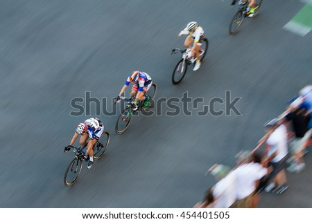 BOISE, IDAHO-JULY 16 2016: Focused on the lead biker of a pack in the Boise Twilight Criterium