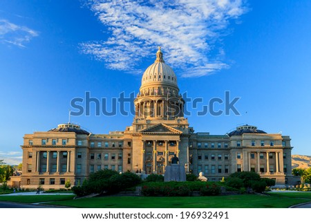Boise, Idaho, United States - JUNE 29, 2012: The Renaissance Revival Capitol building reflects Idaho's political, social, and economic history.