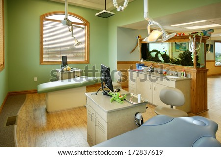 Boise, Idaho, USA  Jun. 15, 2009 The interior of a modern pediatric dental office, showing modern equipment for treatment. - stock photo