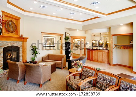 Boise, Idaho, USA June, 16, 2009  An interior image of the waiting room in a modern doctors office.  The image shows contemporary furniture styling and comfortable surroundings.  - stock photo