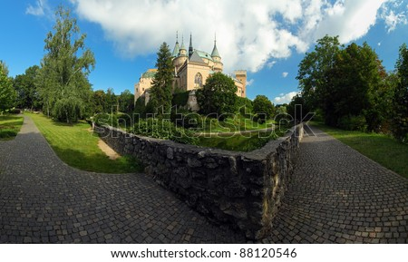 Bojnice castle and park - panoramic view - stock photo