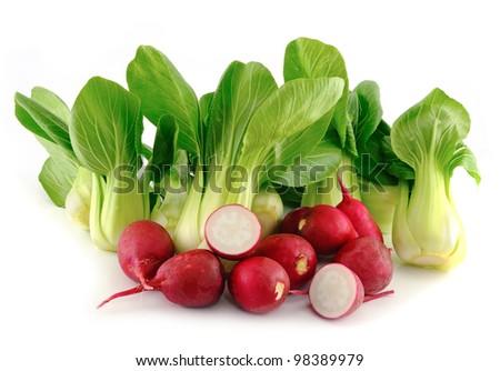 Bok choy (chinese cabbage) and radishes on white background - stock photo