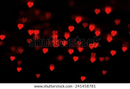 Boke of red hearts. Background on Valentines Day - stock photo