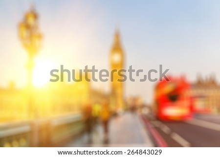Bokeh background of Big Ben and Westminster bridge in London - stock photo