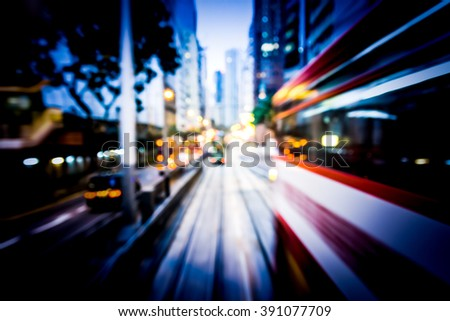 Bokeh background of moving through Hong Kong city street in the train