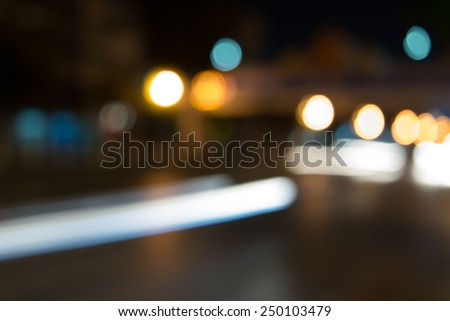 Bokeh background, street, road, light - stock photo